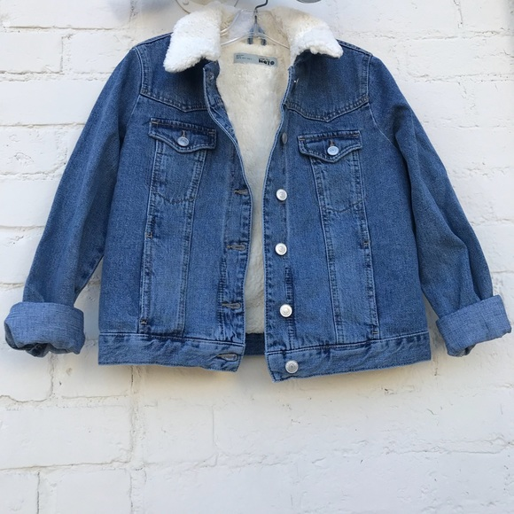 new specials best loved new style Topshop Jackets & Coats | Petite Borg Faux Sherpa Lined Denim ...